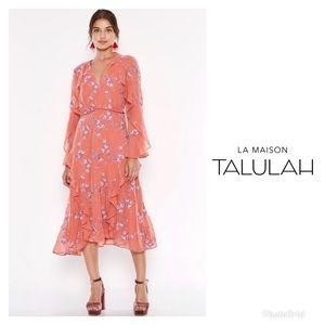 LA MAISON TALULAH Embroidered Ruffled Midi Dress